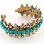 Ottoman Turquoise and Pearl Cuff Bracelet