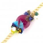 Pink Jade Bracelet with Pearls, Black Onyx, and Green Jade