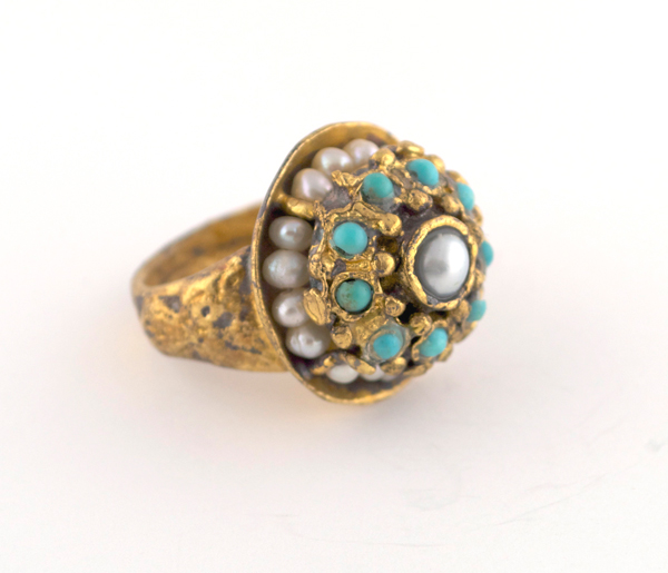 Ottoman Pearl and Turquoise Ring