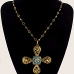 Byzantine Turquoise Cross Necklace