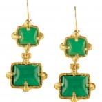Green Jade Gold-Plated Earrings
