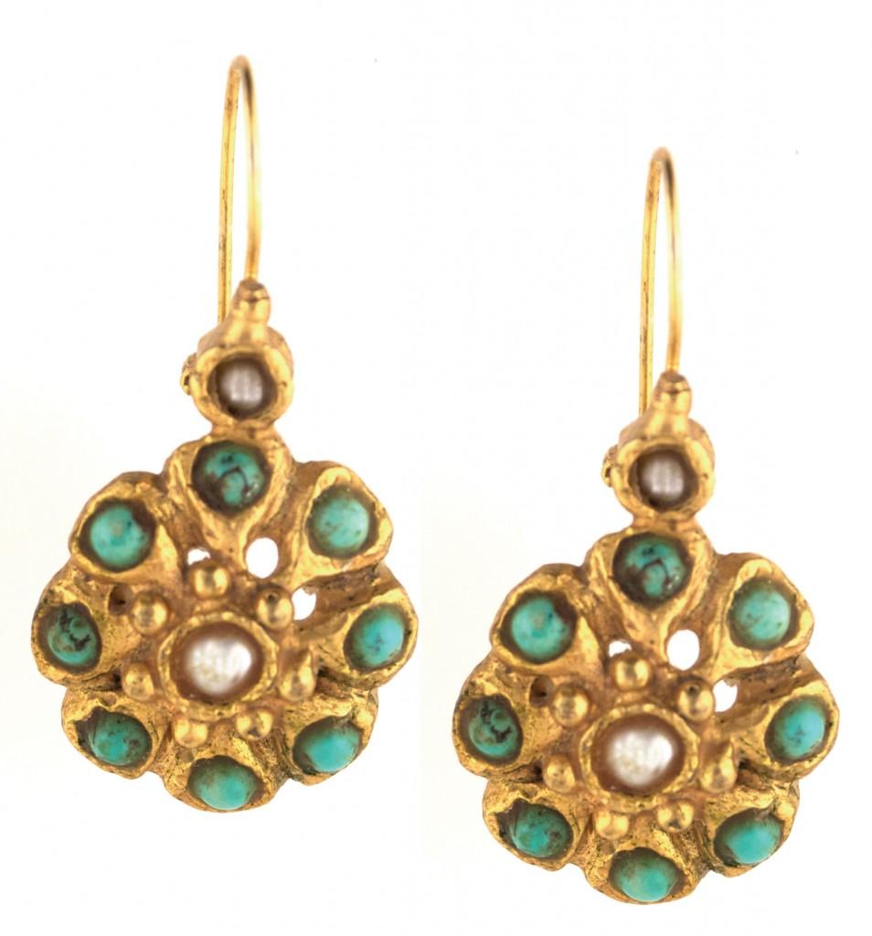 Ottoman Inspired Turquoise amp Pearl Earrings Arabella