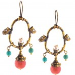 Ottoman Coral, Turquoise & Pearl Earrings