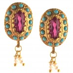 Ottoman Pink Crystal Gold-Plated Earrings