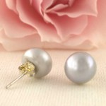 Silver Freshwater Pearl Earrings 12mm