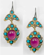 Garnet and Turquoise Etruscan Earrings