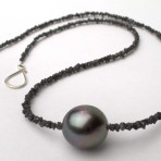 """Midnight"" – Tahitian Pearl and Rough Diamond Necklace"