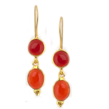 Carnelian Cabochon Earrings – Silver and Plated in 18kt gold