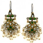 Green Jade and Pearl Chandelier Earrings