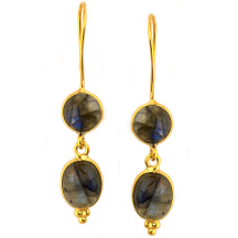 Labradorite Earrings – Silver and plated in 18kt gold