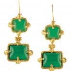 Green Jade Gold-Plated Earrings
