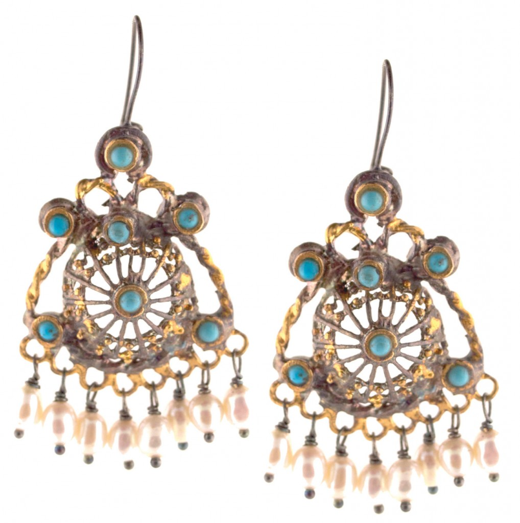 Ottoman Filigree Turquoise and Pearl Earrings