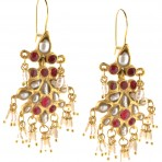 Ottoman Inspired Seed Pearl and Ruby Earrings
