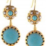 Afghan Turquoise and Pearl Ottoman Earrings