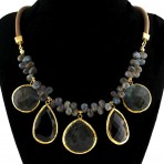 Labradorite and Smoky Quartz Gemstone Necklace