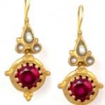 Garnet Sun and Pearl Earrings