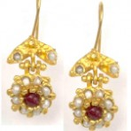 Ruby Flower Earring with Freshwater Pearls