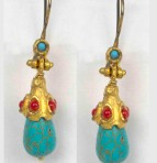 Byzantine Turquoise and Coral Earrings