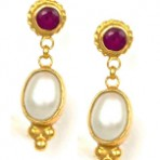 Ruby Sun and Freshwater Pearl Earrings