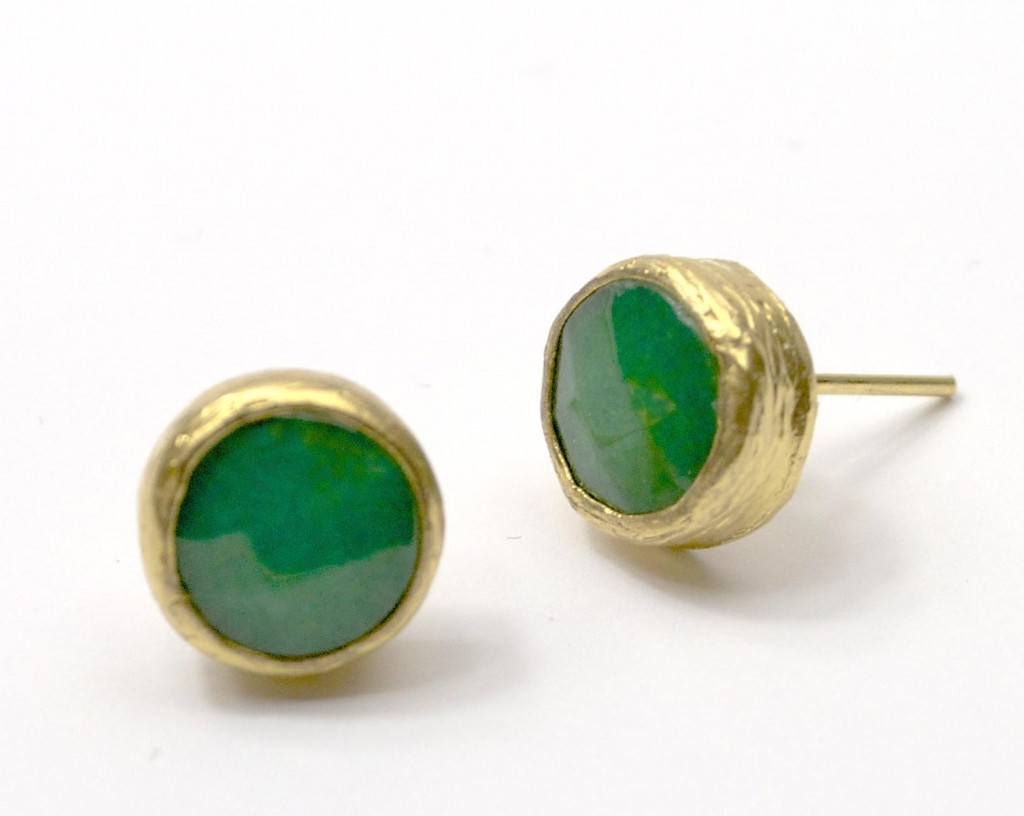 Green Jade Stud Earrings