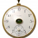 Green Tourmaline and White Topaz Antique Watch Face Necklace