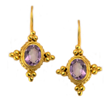 Amethyst Byzantine Earrings – Silver and Plated in 18kt Gold