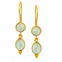 Aquamarine Cabochon Silver Earrings – 18kt gold plated