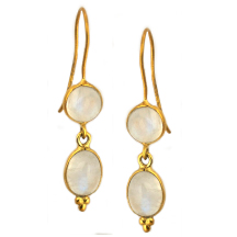 Moonstone Cabochon Earrings – Silver and plated in 18kt Gold