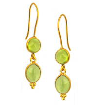 Peridot Earrings – Silver and 18kt gold