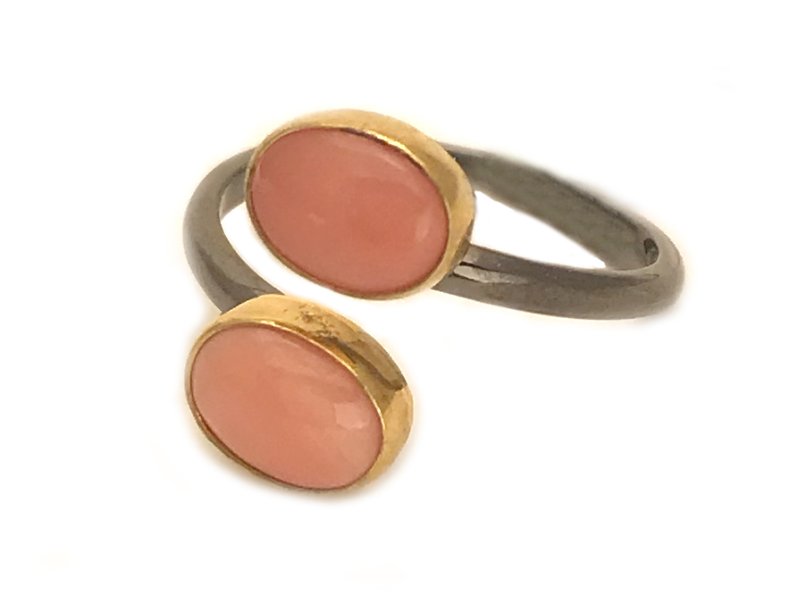 Italian Coral Adjustable Ring
