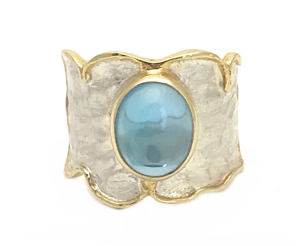 Blue Topaz Sun & Wave Ring