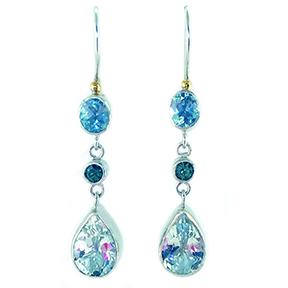 Aquamarine, Green Zircon & Blue Topaz Triple Drop Earrings
