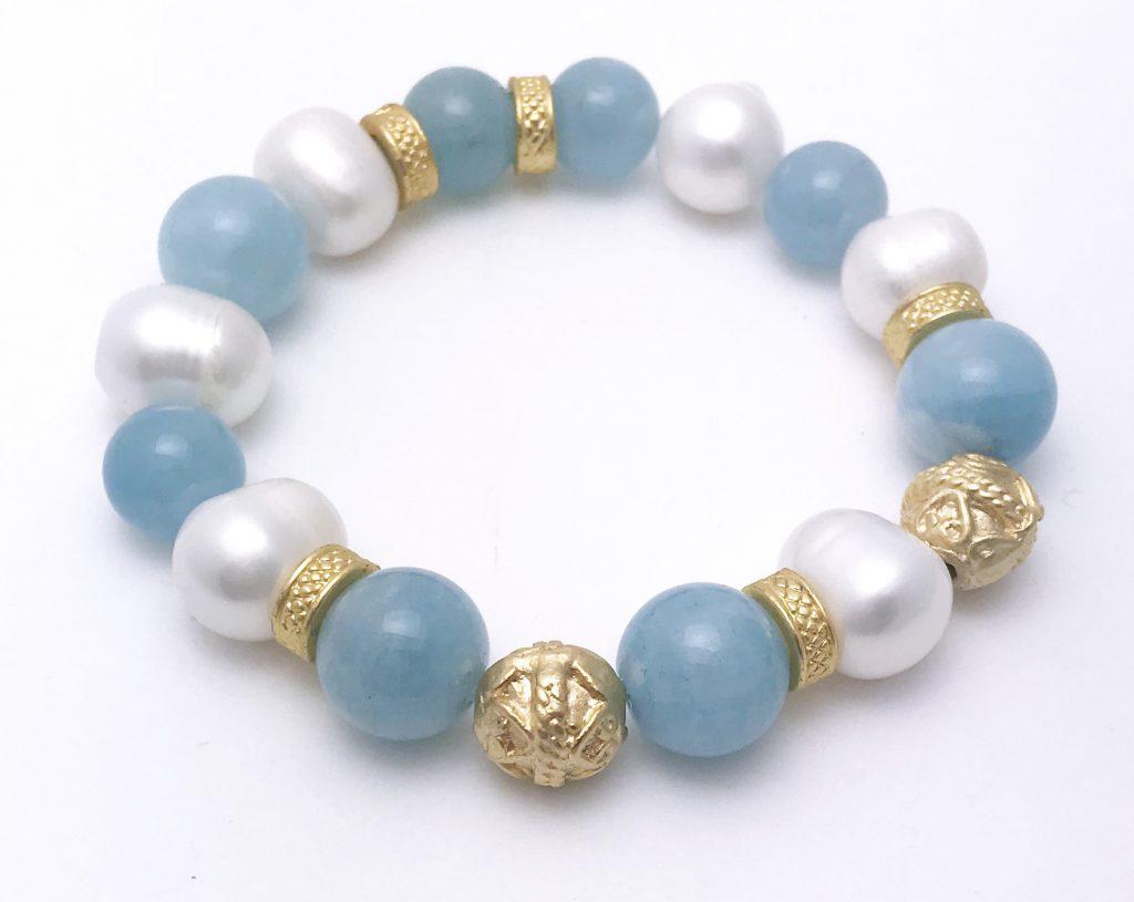 Aquamarine and Freshwater Pearl Bracelet – 6.5″