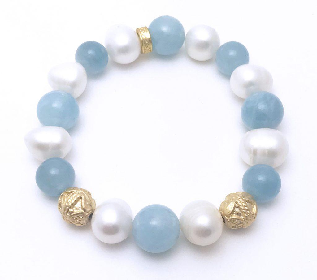 Aquamarine and Freshwater Pearl Bracelet – 7″
