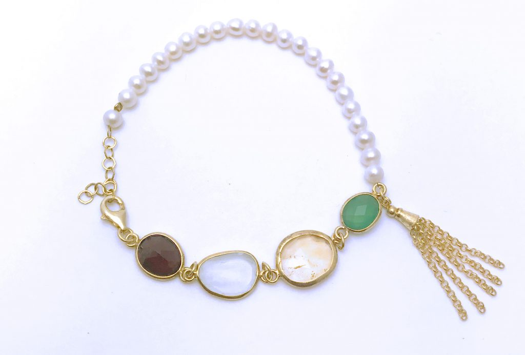 Gemstone and Pearl Bracelet