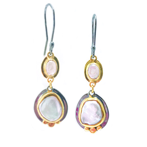 Pink Tourmaline and Byzantine Pearl Earrings