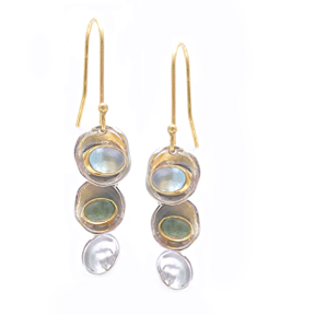 Triple Sun Disk Earrings with Green Tourmaline and Topaz