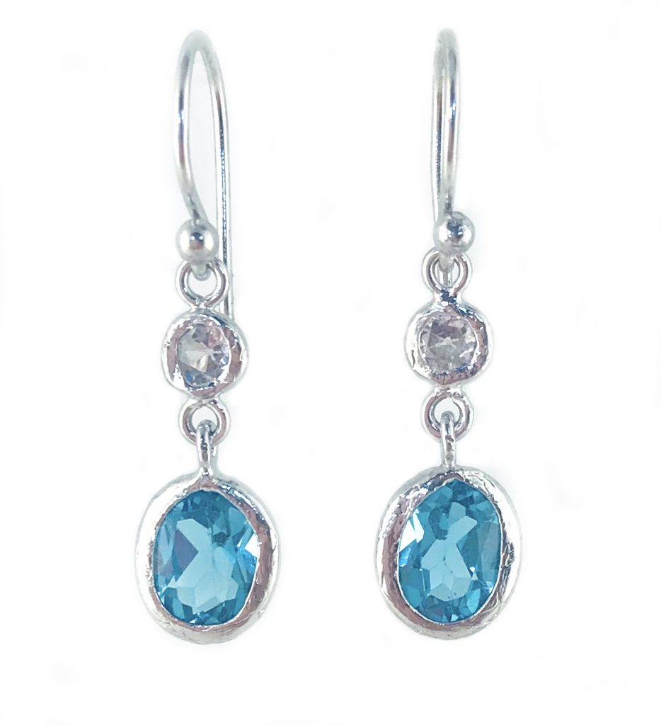 Swiss Blue And White Topaz Earrings